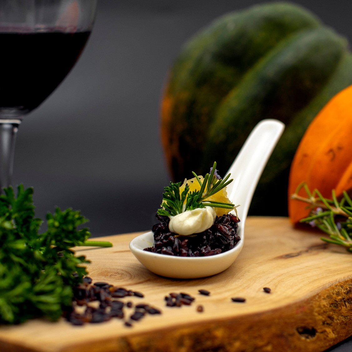 Rosemary Black Pearl Rice with Acorn Squash and Crème Fraîche